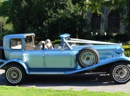 Blue vintage style wedding car hire in Sheffield